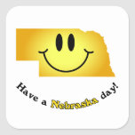 Happy Face - Have a Nebraska Day! Square Stickers