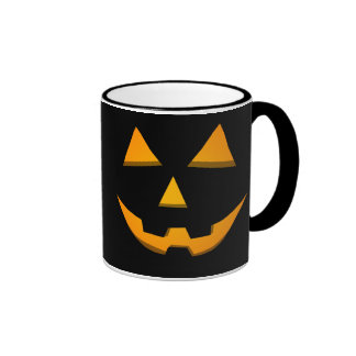 Happy Face Jack-O-Lantern Black/Orange Glow Coffee Mugs