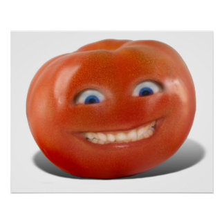 Happy Face Smiling Tomato Poster