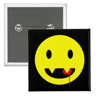 Happy Face with Fangs and Blood Tshirts 15 Cm Square Badge