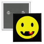 Happy Face with Fangs and Blood Tshirts Button