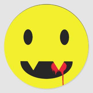 Happy Face with Fangs and Blood Tshirts Round Sticker