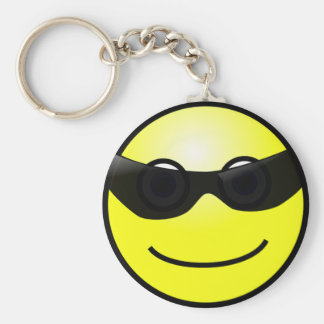 Happy Face with Sunglasses Keychain Basic Round Button Keychain