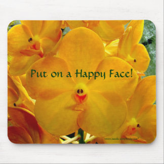 Happy Face Yellow Orchids Mouse Mat