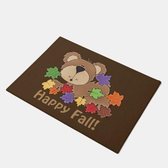 Happy Fall bear door mat