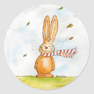 Happy Fall - Cute Autumn Greetings with Bunny in t Round Sticker