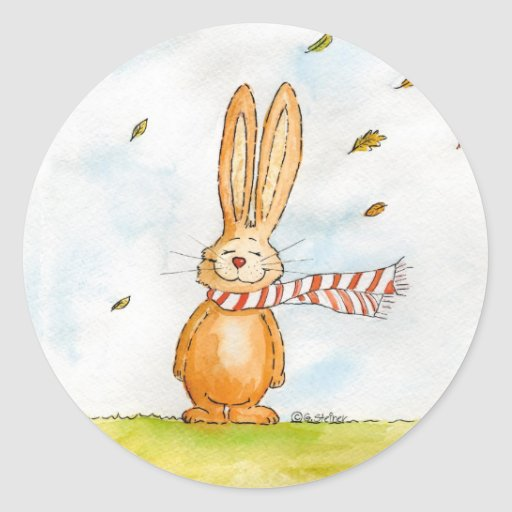 Happy Fall - Cute Autumn Greetings with Bunny in t Round Stickers
