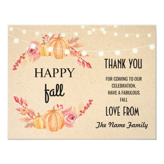 Happy Fall Harvest Festival Pumpkin Thank you Card