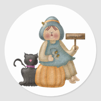 Happy Fall Scarecrow Classic Round Sticker