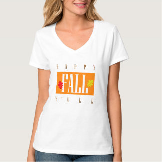 Happy Fall Y'All Autumn Leaves T-Shirt