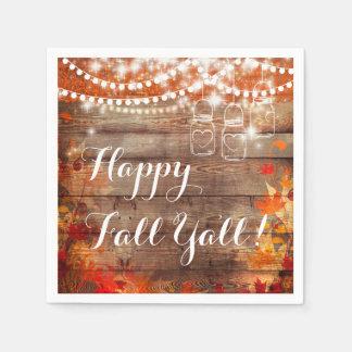 Happy Fall Ya'll Autumn Rustic Napkins Disposable Serviette