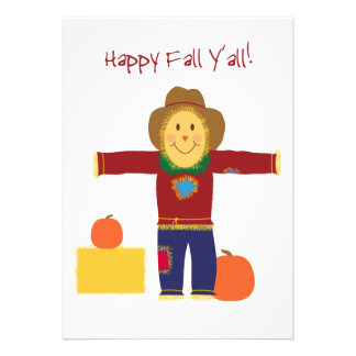 Happy Fall Y'all: Autumn scarecrow invitation