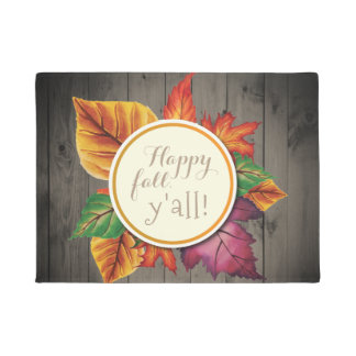 Happy Fall Y'all Country Chic Autumn Leaves Doormat