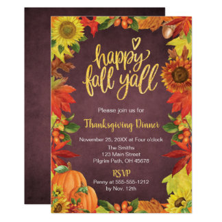 Happy Fall Y'all Thanksgiving Dinner invitation