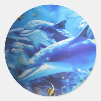 Happy Family Dolphins Round Sticker