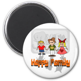 Happy Family 6 Cm Round Magnet