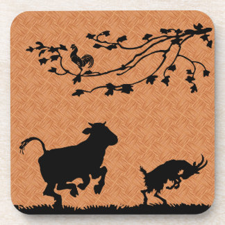 Happy farm animals coaster