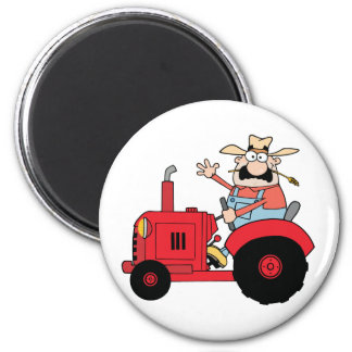 Happy Farmer In Red Tractor  Waving A Greeting 6 Cm Round Magnet