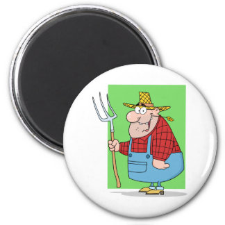 Happy  Farmer Man Carrying A Rake 6 Cm Round Magnet