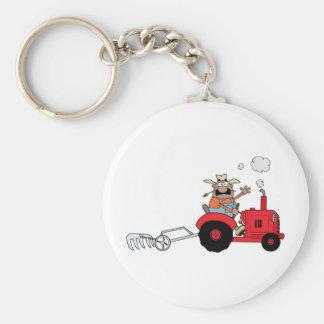 Happy Farmer using a Tractor Key Ring