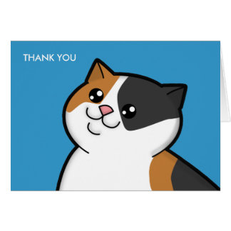 Happy Fat Calico Cat Thank You Note Cards