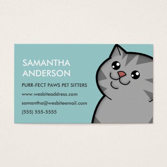 Happy Fat Silver Tabby Personalised Business Cards