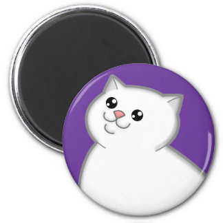 Happy Fat White Cat Round Magnet Magnets