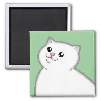 Happy Fat White Cat Square Magnet Magnet