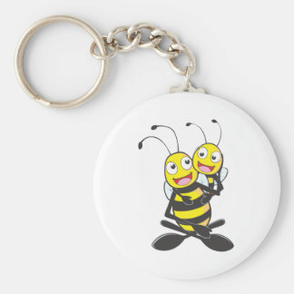 Happy Father and Daughter Bee Basic Round Button Key Ring