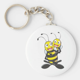 Happy Father and Daughter Bee Having Fun Basic Round Button Key Ring