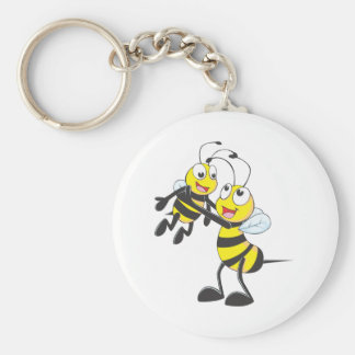 Happy Father and Son Bee Having Fun Key Chain