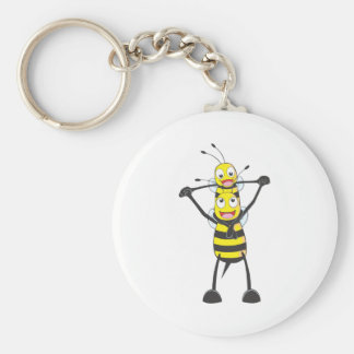 Happy Father and Son Bee Basic Round Button Key Ring