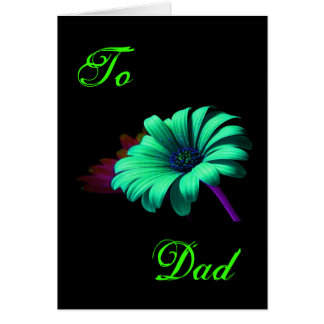 Happy Father s Day Green Blue Daisy III Card