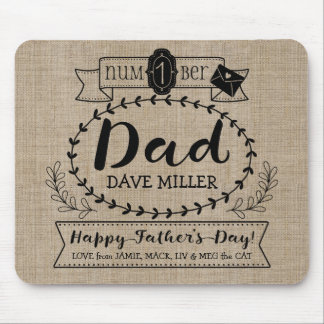 Happy Father's Day Number 1 One Dad Monogram Logo Mouse Mat