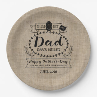 Happy Father's Day Number 1 One Dad Monogram Logo Paper Plate