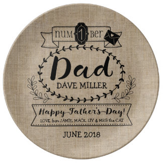Happy Father's Day Number 1 One Dad Monogram Logo Plate