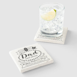 Happy Father's Day Number 1 One Dad Monogram Logo Stone Coaster