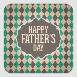 Happy Father's Day Argyle Pattern Square Stickers