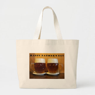 Happy Fathers Day Beer Tankards Large Tote Bag
