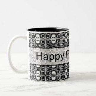 happy fathers day black white Two-Tone coffee mug