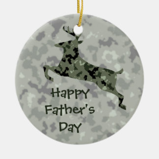 Happy Father's Day Camo Deer Round Ceramic Decoration