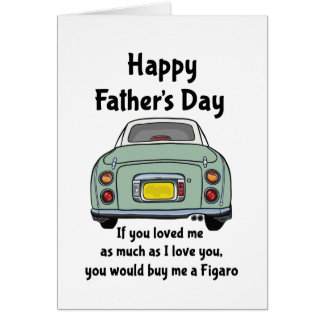 Happy Father's Day Card Green Nissan Figaro Car