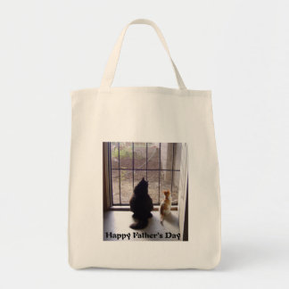Happy Fathers Day Cat And Kitten Grocery Tote Bag