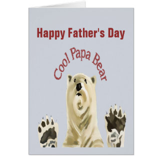 Happy Father's Day Cool Papa Bear Blank Inside Card