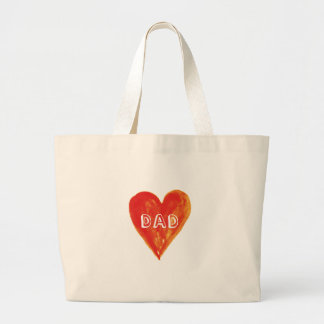 Happy fathers day, dad, hand painted red heart jumbo tote bag