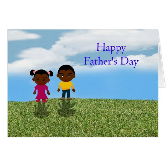 Happy Father's Day Dad with African American kids