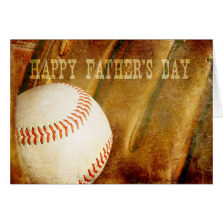 Happy Father's Day Faded Baseball Greeting Cards