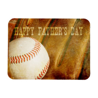 Happy Father's Day Faded Baseball Rectangular Photo Magnet