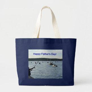 Happy Father's Day, fisherman Jumbo Tote Bag