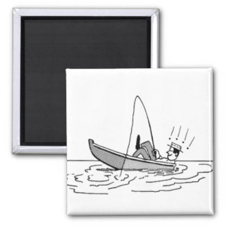 Happy Father's Day - Fishing Boat Square Magnet